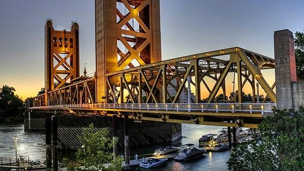Bridge in Sacramento California at Sunset
