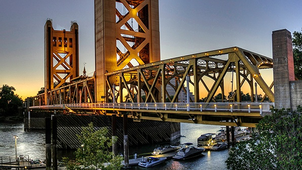 Bridge in Sacramento California at Sunset
