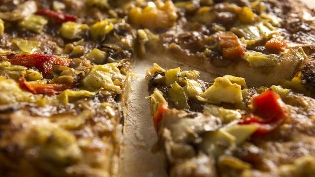 vegetarian supreme pizza at Grand Cafe